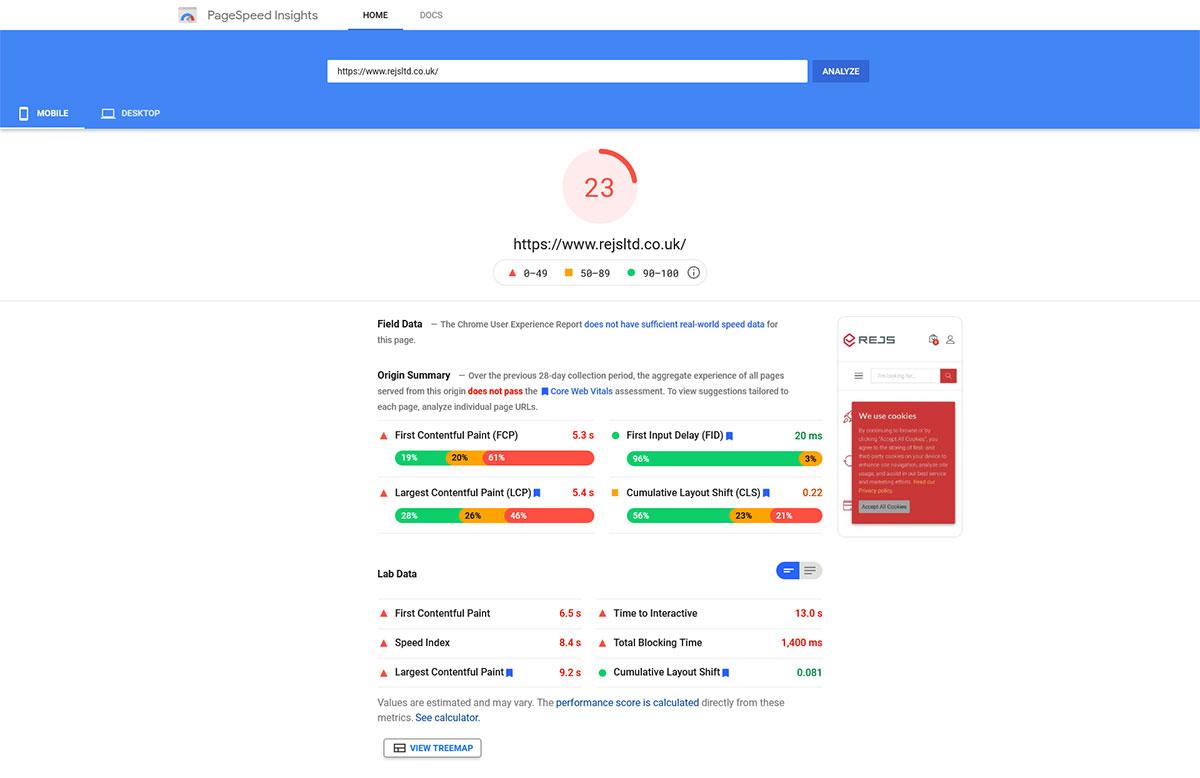 Tryb mobilny - Google PageSpeed