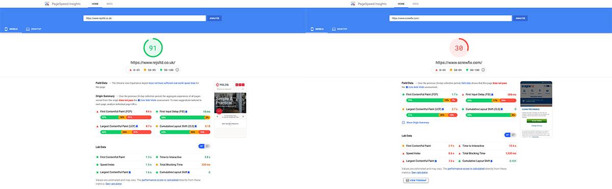 Porówanie tryb mobilny - Google PageSpeed
